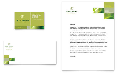 Internet Marketing Business Card & Letterhead Template - Microsoft Office