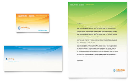 Computer & IT Services Business Card & Letterhead Template - Microsoft Office
