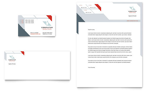 Computer Solutions Business Card & Letterhead Template - Microsoft Office