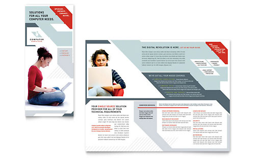 Computer Solutions Tri Fold Brochure Template - Microsoft Office