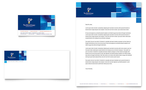 Technology Consulting & IT Business Card & Letterhead Template - Microsoft Office