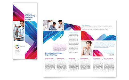 Software Solutions Tri Fold Brochure Template - Microsoft Office
