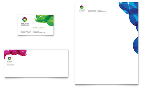 Network Administration Business Card & Letterhead Template - Microsoft Office