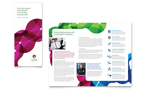 Network Administration Tri Fold Brochure Template - Microsoft Office