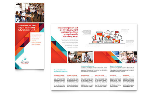 Application Software Developer Tri Fold Brochure Template - Microsoft Office