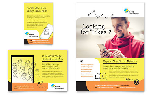 Social Media Consultant Flyer & Ad Template - Microsoft Office