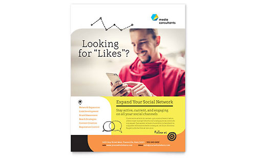 Social Media Consultant Flyer - Word Template & Publisher Template