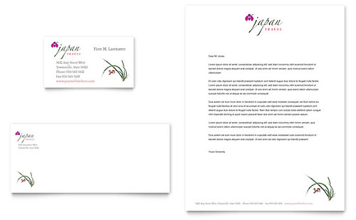 Japan Travel Business Card & Letterhead Template - Microsoft Office