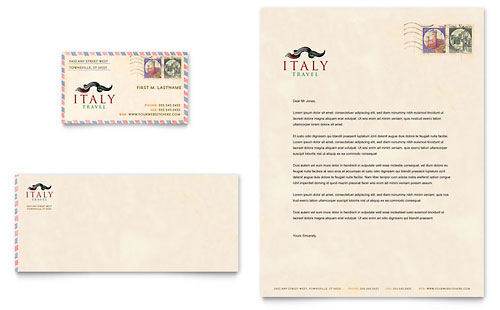 Italy Travel Business Card & Letterhead Template - Microsoft Office
