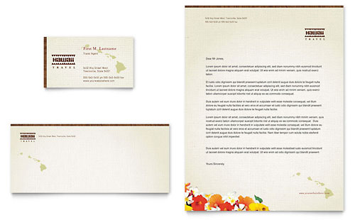 Hawaii Travel Vacation Business Card & Letterhead Template - Microsoft Office