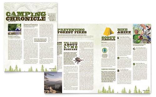 Nature Camping & Hiking Newsletter Template - Microsoft Office