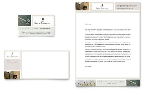 Bed & Breakfast Motel Business Card & Letterhead Template - Microsoft Office