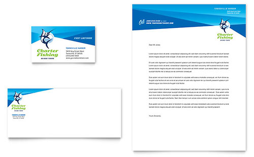 Fishing Charter & Guide Business Card & Letterhead Template - Microsoft Office