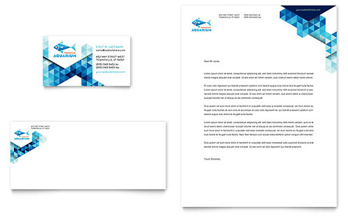 Ocean Aquarium Business Card & Letterhead Template - Microsoft Office