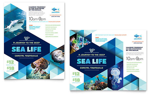 Ocean Aquarium Poster Template - Word & Publisher