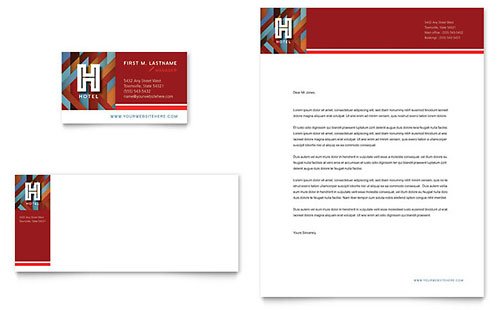 Hotel Business Card & Letterhead Template - Microsoft Office