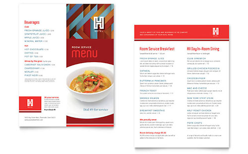 hotel menu family restaurant menu template word