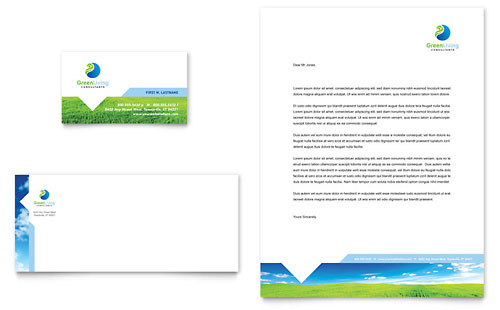 Green Living & Recycling Business Card & Letterhead Template Design