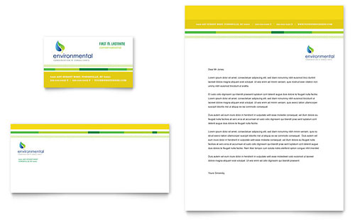 Environmental Conservation Business Card & Letterhead Template - Microsoft Office