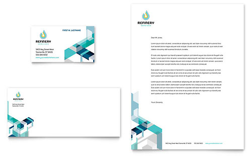 Oil & Gas Company Business Card & Letterhead Template