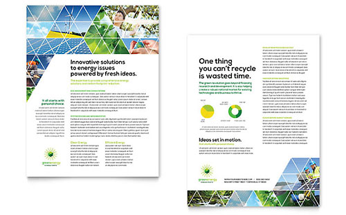 Green Energy Consultant Datasheet Template Design