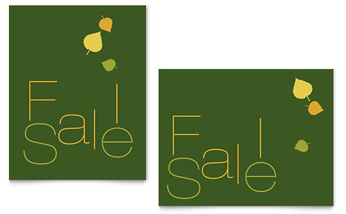 Falling Leaves Sale Poster Template - Microsoft Office