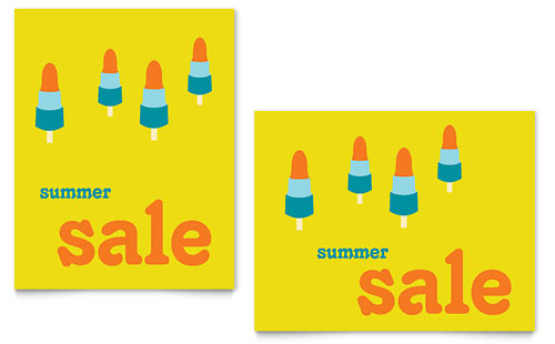 Summer Popsicles Sale Poster Template - Microsoft Office