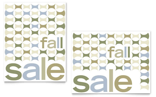 Geometric Fall Color Sale Poster Template - Microsoft Office
