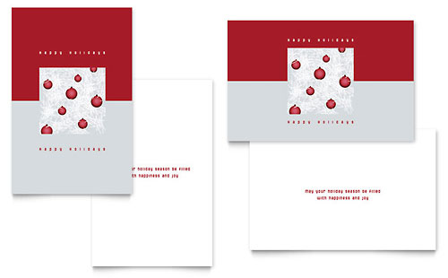 Red Ornaments Greeting Card Template - Microsoft Office