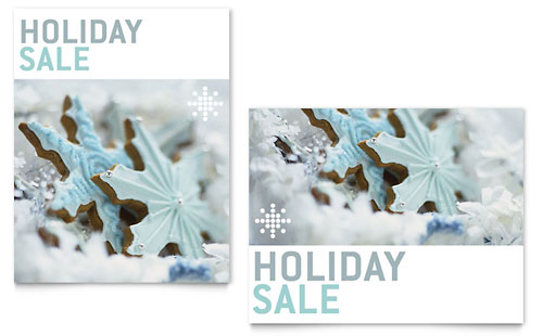 Snowflake Cookies Sale Poster Template - Microsoft Office