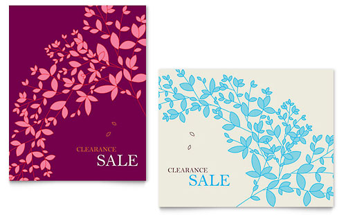 Spring Leaves Sale Poster Template - Microsoft Office