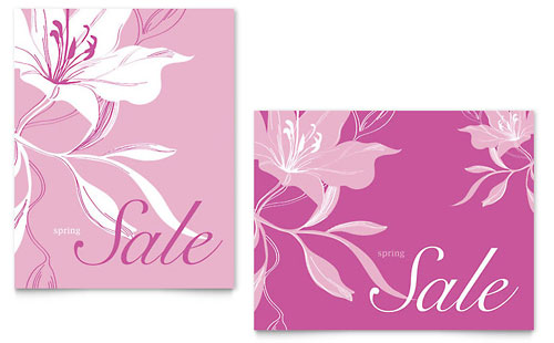 Pink Flowers Sale Poster Template - Microsoft Office