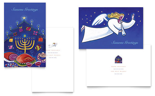 Holiday Seasons Menorah Greeting Card Template - Microsoft Office