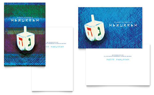 Hanukkah Dreidel Greeting Card Template - Microsoft Office