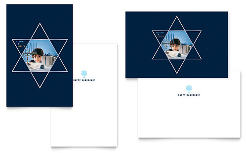 Star of David Greeting Card Template - Microsoft Office