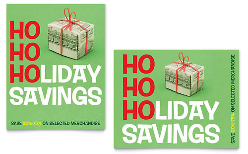 Holiday Savings Sale Poster Template - Microsoft Office