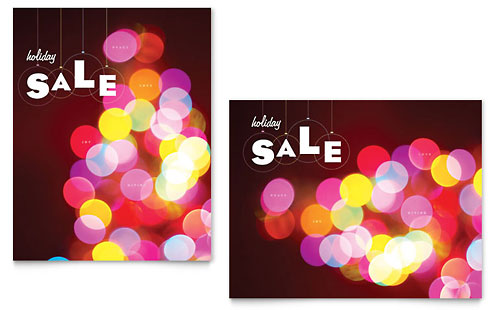 Holiday Lights Sale Poster Template - Microsoft Office