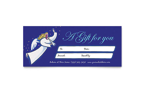 Christmas Angel Gift Certificate Template - Microsoft Office