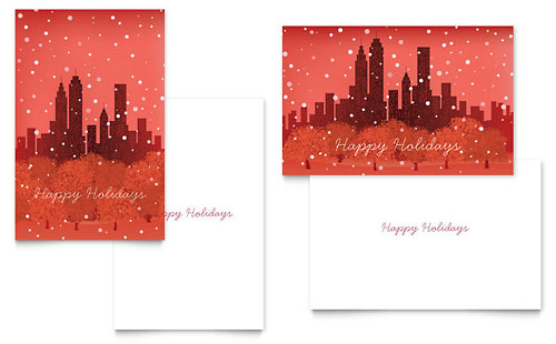 Cityscape Winter Holiday Greeting Card Template - Microsoft Office