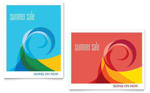 Summer Waves Sale Poster Template - Microsoft Office