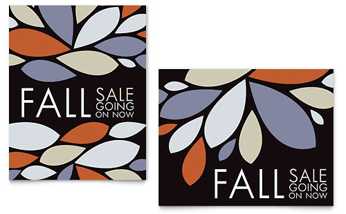 Contemporary Leaves Sale Poster Template - Microsoft Office