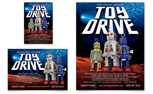 Holiday Toy Drive Fundraiser Flyer & Ad Template Design