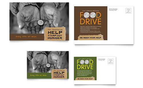 Holiday Food Drive Fundraiser Postcard Template Design