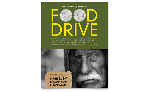 Holiday Food Drive Fundraiser Flyer Template - Microsoft Office