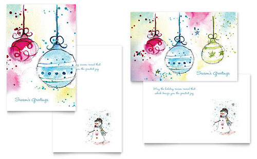 Whimsical Ornaments Greeting Card Template - Word & Publisher