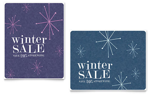 Snowflake Wishes Sale Poster Template - Microsoft Office