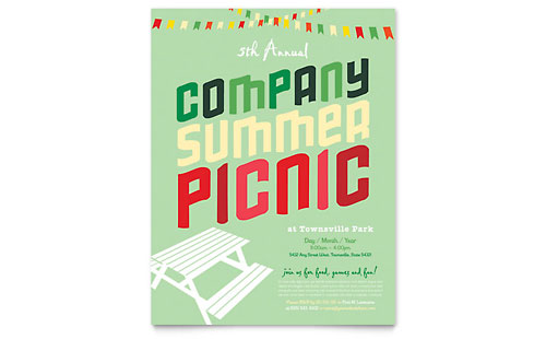 Company Summer Picnic Flyer Template - Microsoft Office