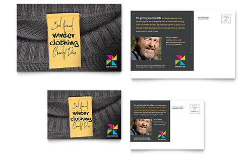 Winter Clothing Drive Postcard Template - Microsoft Office