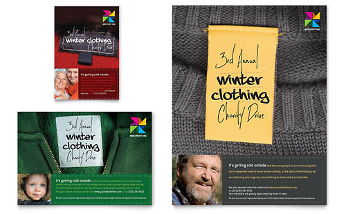 Winter Clothing Drive Flyer & Ad Template - Microsoft Office