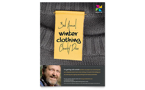 Winter Clothing Drive Flyer Template - Microsoft Office